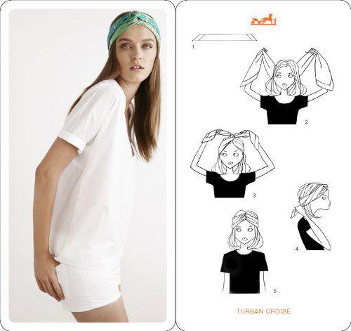 4869b4b80624 comment nouer foulard 46   Coiffure   Hermès, Scarf styles et Silk ...