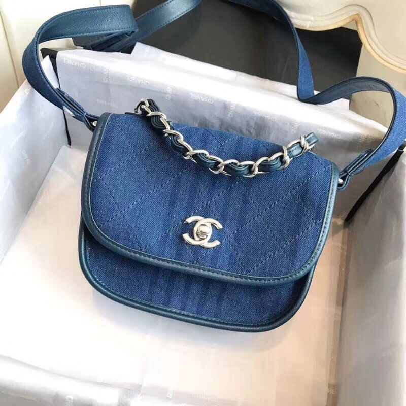 825dca49bf80 Chanel Small Blue Denim Canvas Saddle Shoulder Bag 2018