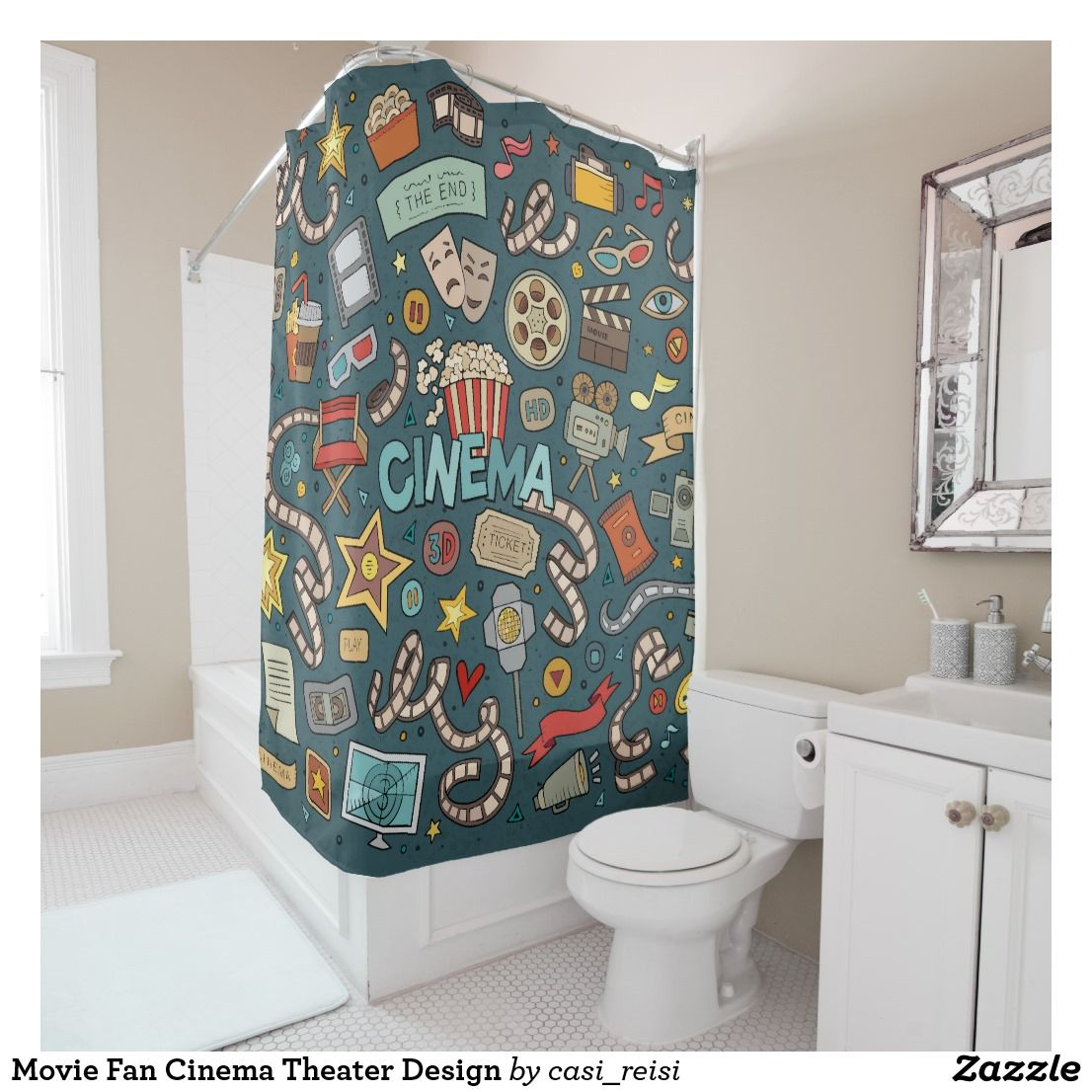 Movie Fan Cinema Theater Design Shower Curtain Zazzle Com