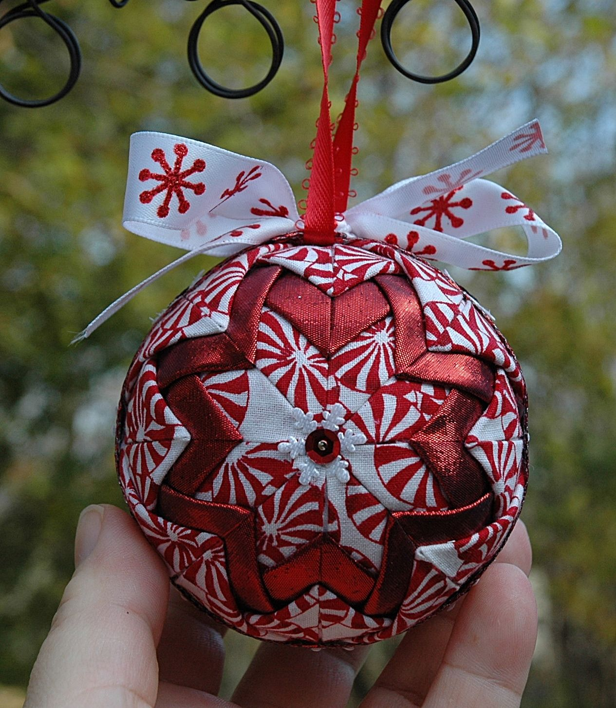 Ornamental Handmade Folded Fabric Ornaments Folded Fabric Ornaments Fabric Christmas Ornaments Fabric Ornaments
