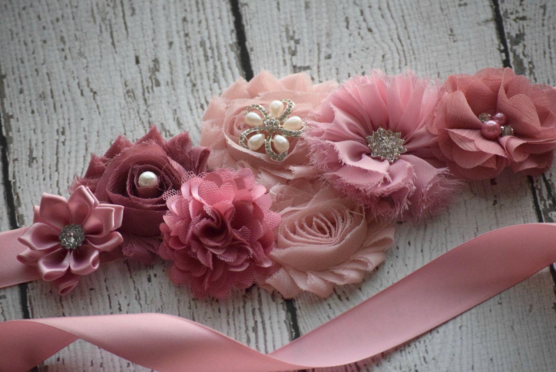 Maternity Sash, classic mauve Sash, flower Belt, maternity sash ...