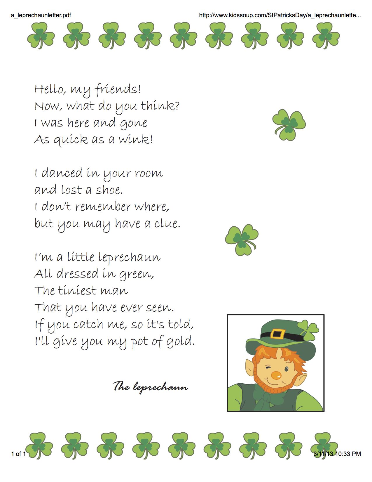 Leprechaun Classroom Visit Ideas ~ Letter from the leprechaun st patrick s day ideas