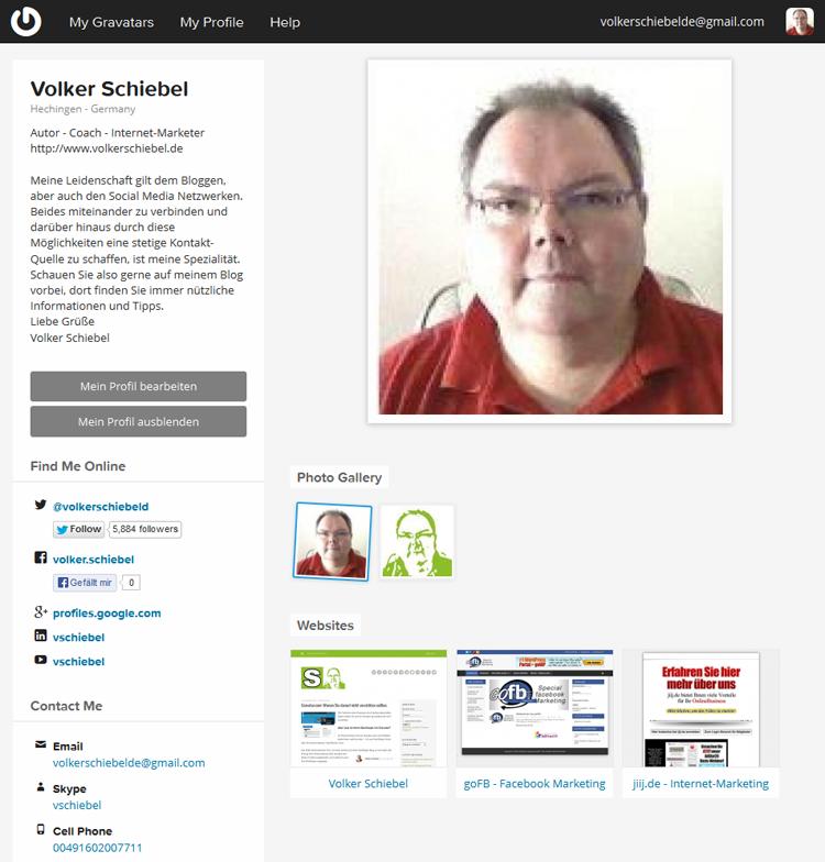 Mein Profil bei Gravatar.com