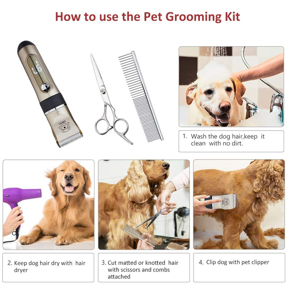 Dog Clippers 2 Speed Professional Rechargeable Cordless Cat Shaver And Low Noise Water Proof Electric Dog Trimmer Pet G Pet Grooming Dog Clippers Grooming Kit