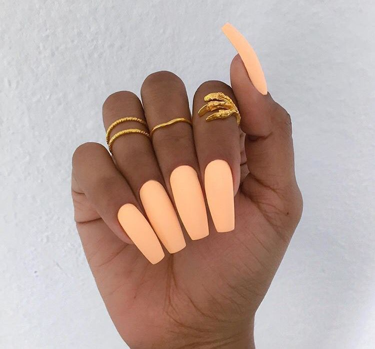 Peach Matte Nails Super Cute And Great For The Summer