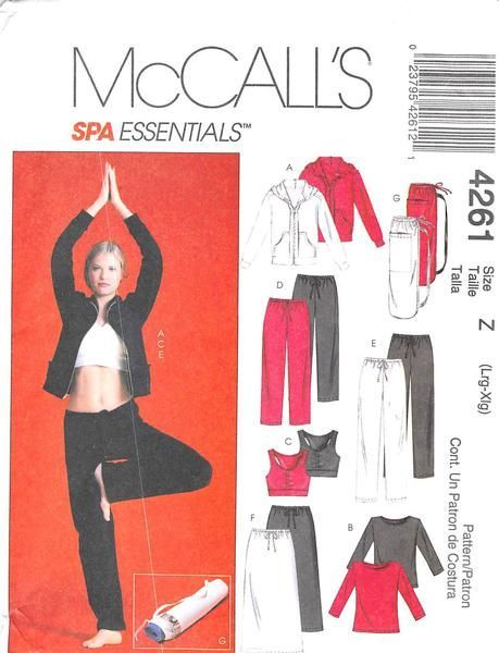 McCALL'S 4261 - FROM 2003 - UNCUT - MISSES JACKET, TOPS, TROUSERS, SKIRT, AND BAG.