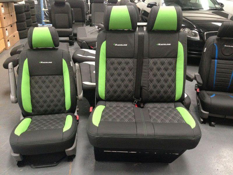 SINGLE DOUBLE VW TRANSPORTER T3//T4//T5 GREEN MOTORSPORT VAN SEAT COVERS
