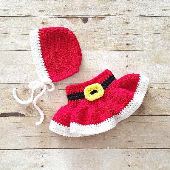 7e544328c Crochet Baby Mrs. Claus Skirt Bonnet Hat Beanie Set Girl Dress Infant  Newborn…