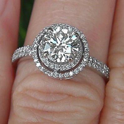 Diamond Engagement Ring 14K white gold 125 carat Round