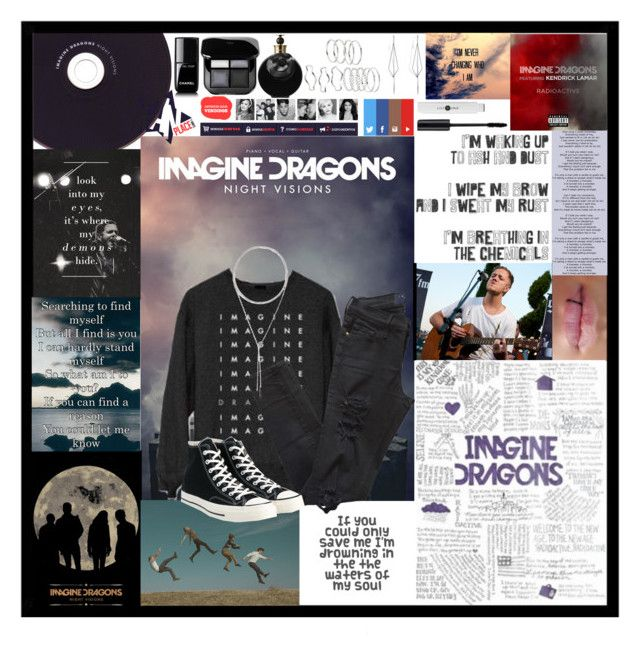 """Imagine Dragons"" by fandoms-obsessed ❤ liked on Polyvore featuring Frame, Converse, Diane Kordas, W. Britt, Valentino and Chanel"