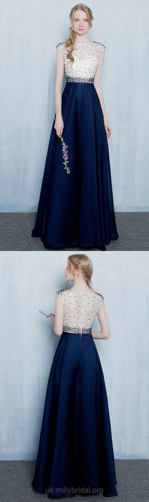 Dark navy prom dresses long classy formal dresses for teens aline