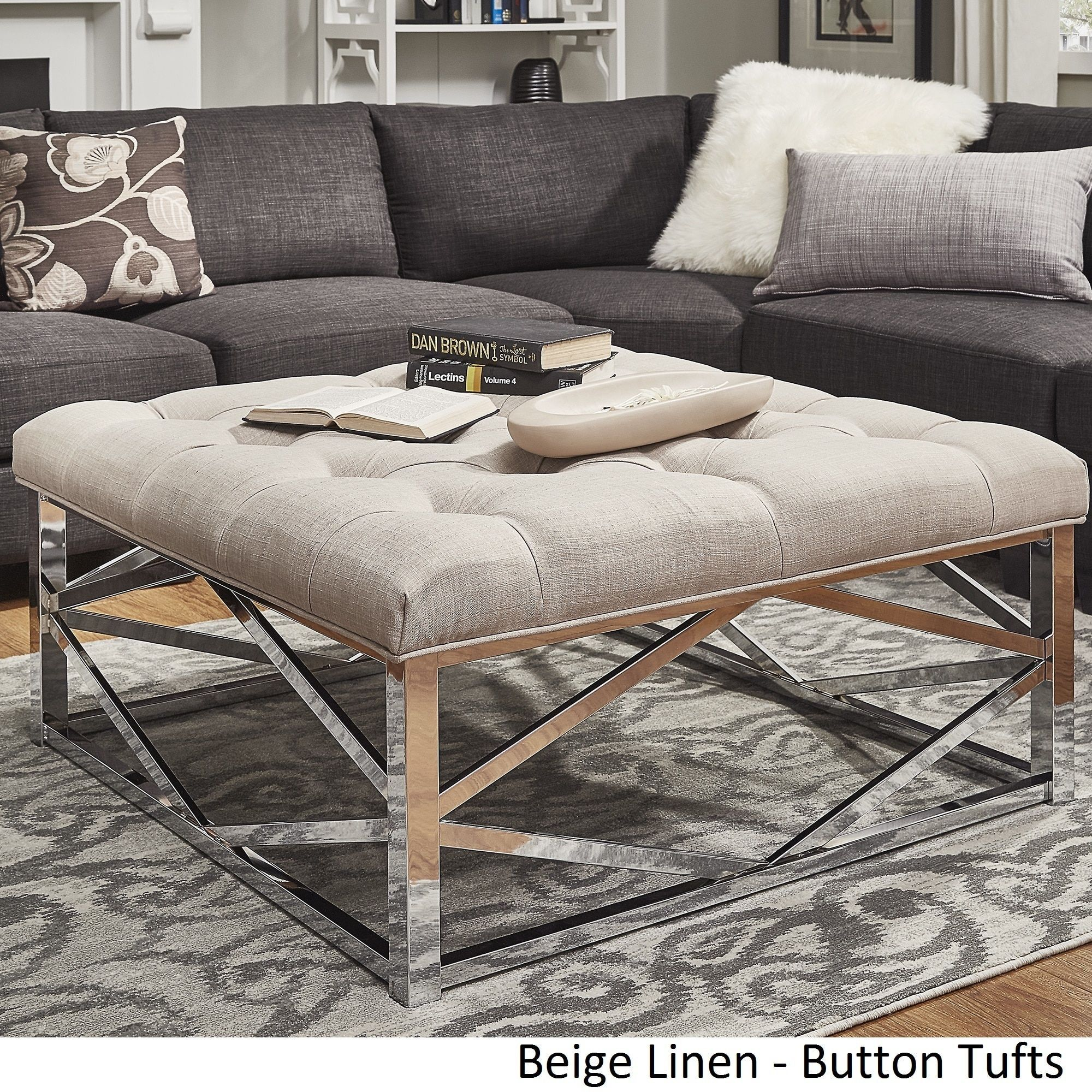 Solene Geometric Base Square Ottoman Coffee Table - Chrome by Inspire Q ([ Dark Brown PU]- Dimpled Tufts)