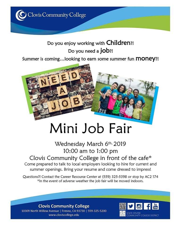 Don't miss the Mini Job Fair at Clovis Community College