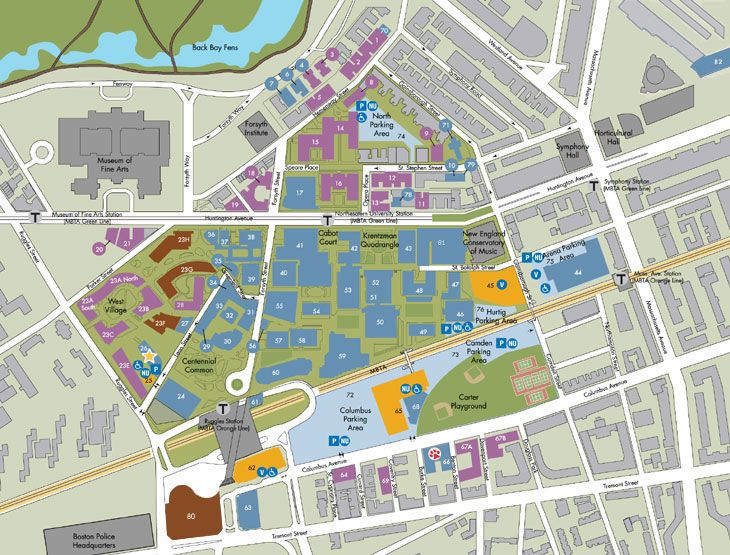 northeastern university map of campus Need Help Getting Around Print Out A Campus Map Campus Map northeastern university map of campus