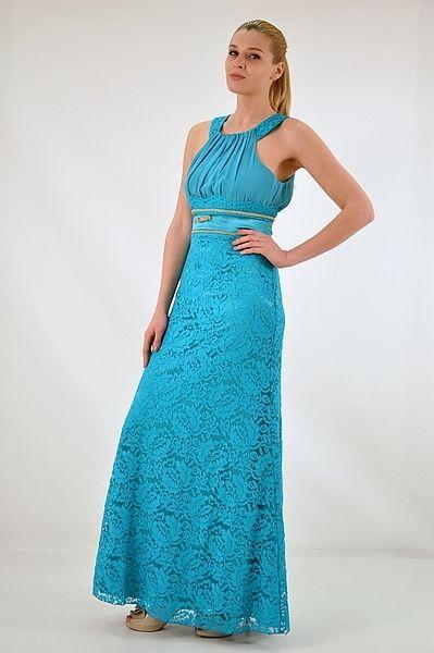 3adb14b48c3 Φόρεμα μακρύ, ίσια γραμμή με παρτούς ώμο | Μακρύ Φόρεμα | Μακραμέ
