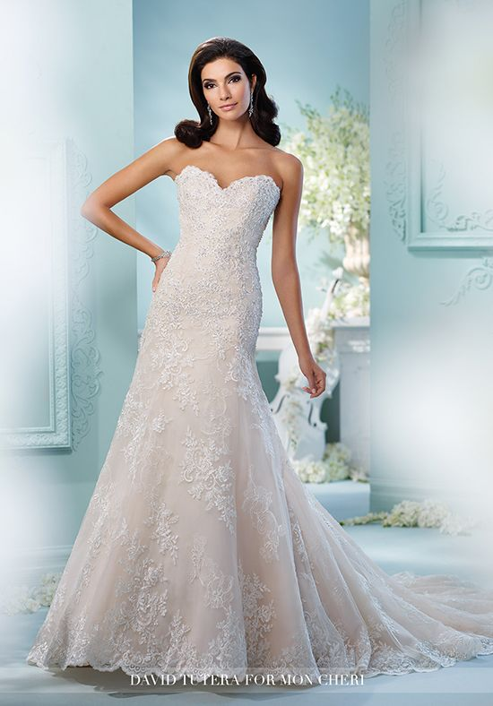 Strapless fit and flare wedding dress with sweetheart neckline and ...