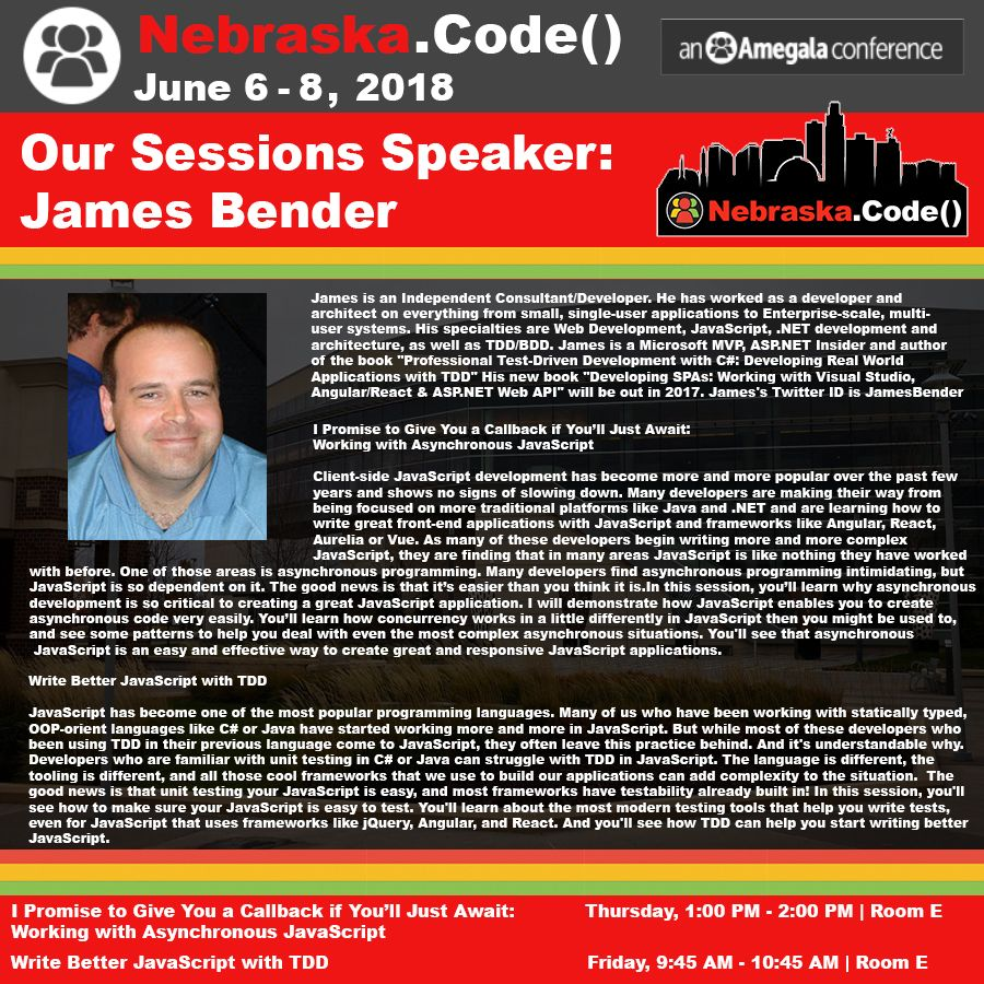 Nebraska.Code() Sessions Speaker James Bender Coding