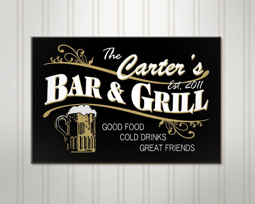 Personalized Beer Sign Bar And Grill Pub By Simplysublimegifts 59 95 Personalized Bar Signs Home Bar Signs Custom Pub Signs