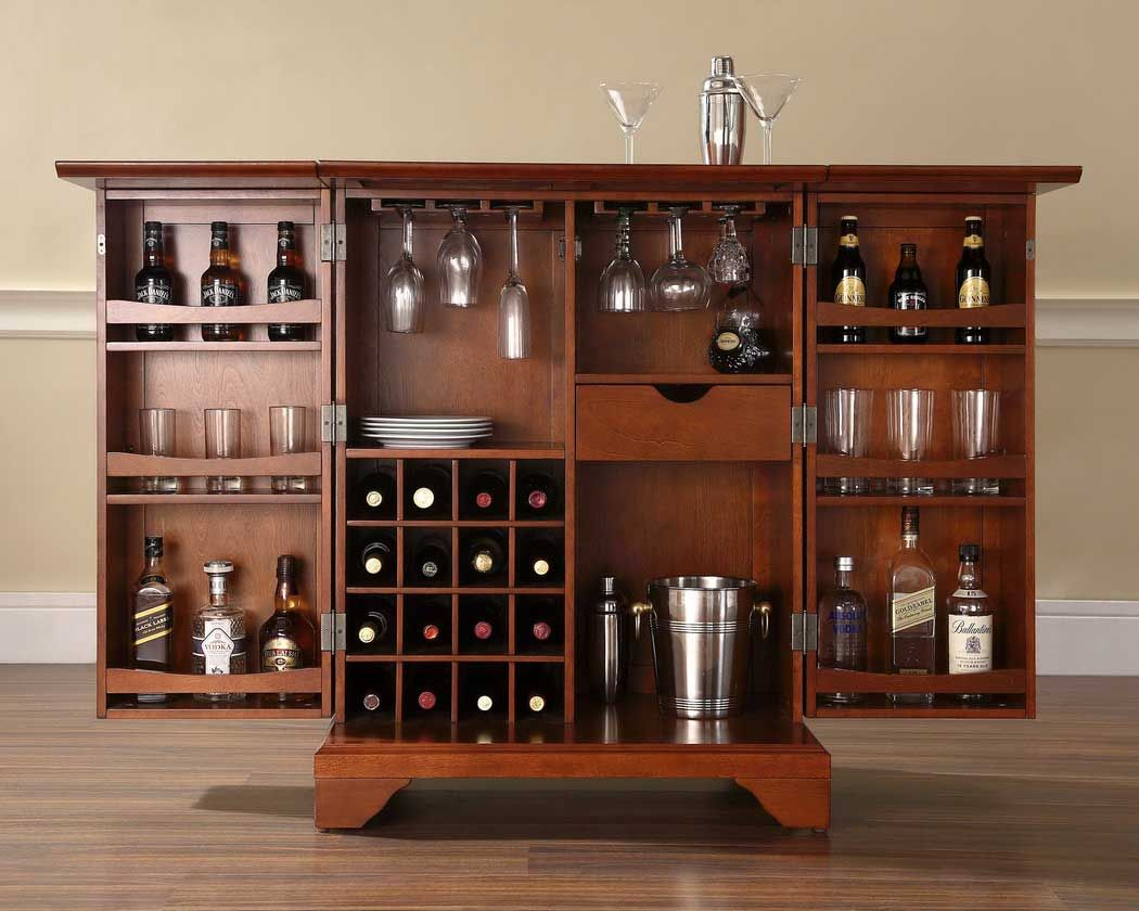 Crosley LaFayette Expandable Bar Cabinet In Vintage Mahogany Finish    Crosley Furniture