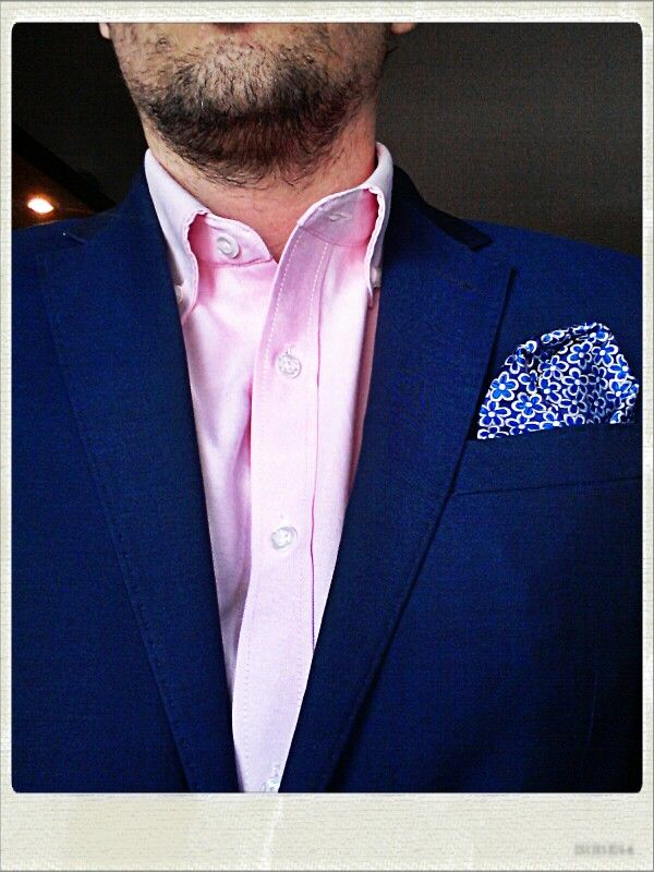 Today's outfit; pink oxford shirt, blue suit jacket with a ...