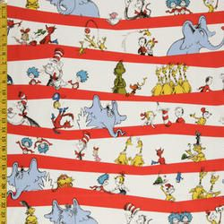 DR Seuss Characters ON RED Wavy Stripes Kaufman NEW Cotton ... : dr seuss quilt fabric - Adamdwight.com
