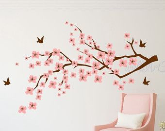 Cherry Blossom Tree Branch Wall Decal With Birds   Vinyl Wall Art