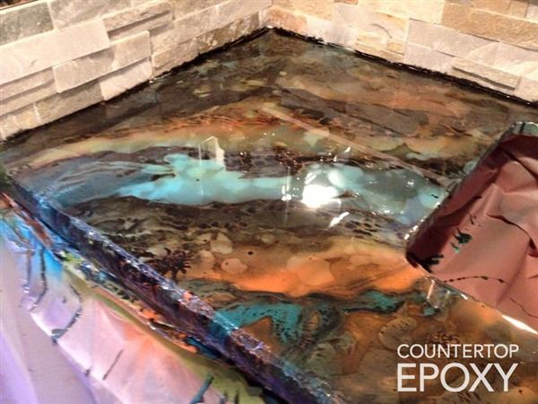 Photos Of Beautiful Seamless Epoxy Countertops Bar In