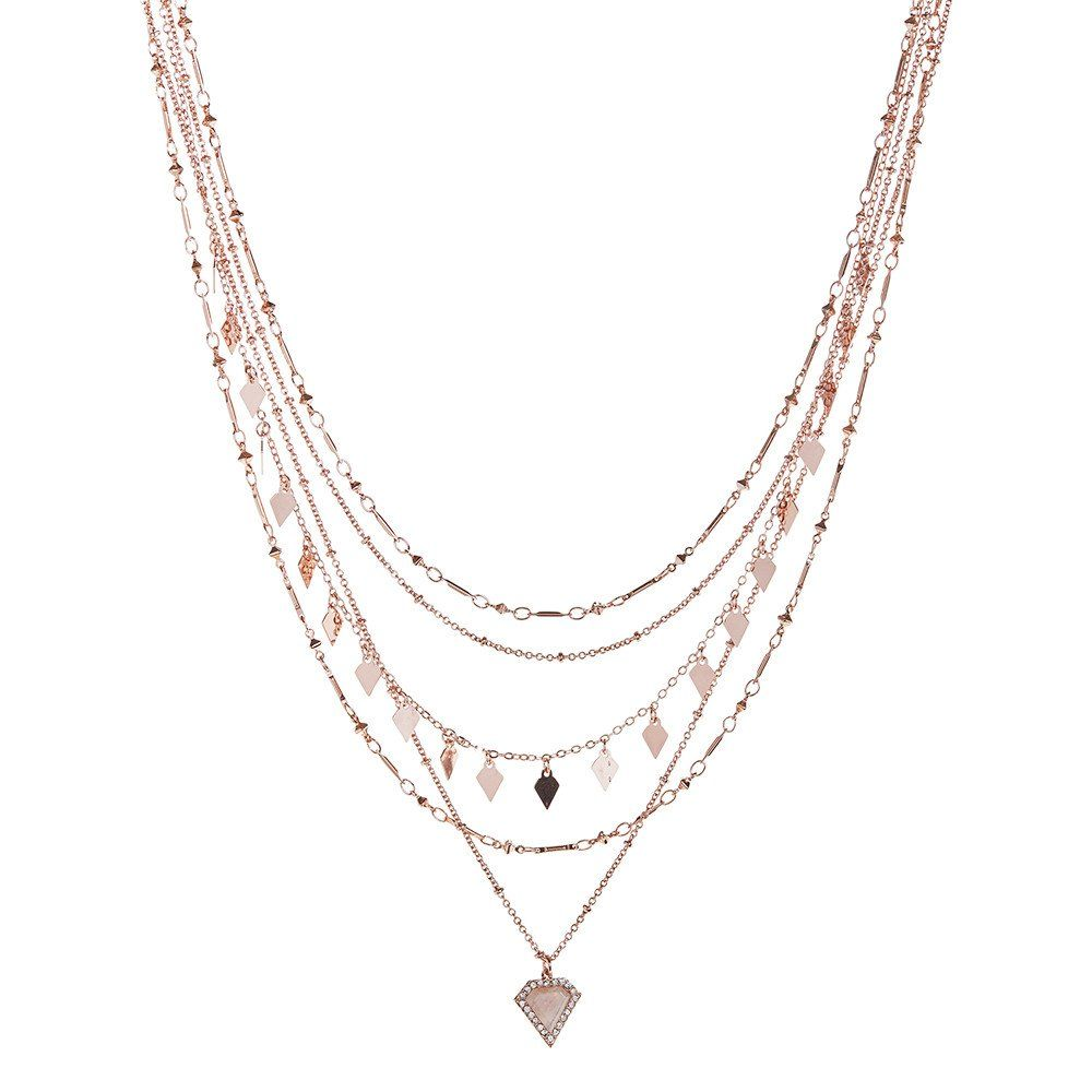 Moonstone Multi Charm Necklace - Rose Gold | Luv Aj