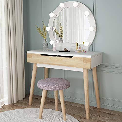 Tribesigns Vanity Set With Round Lighted Mirror Wood Makeup Vanity Dressing In 2020 Vanity Table Set Table Design Vanity Table