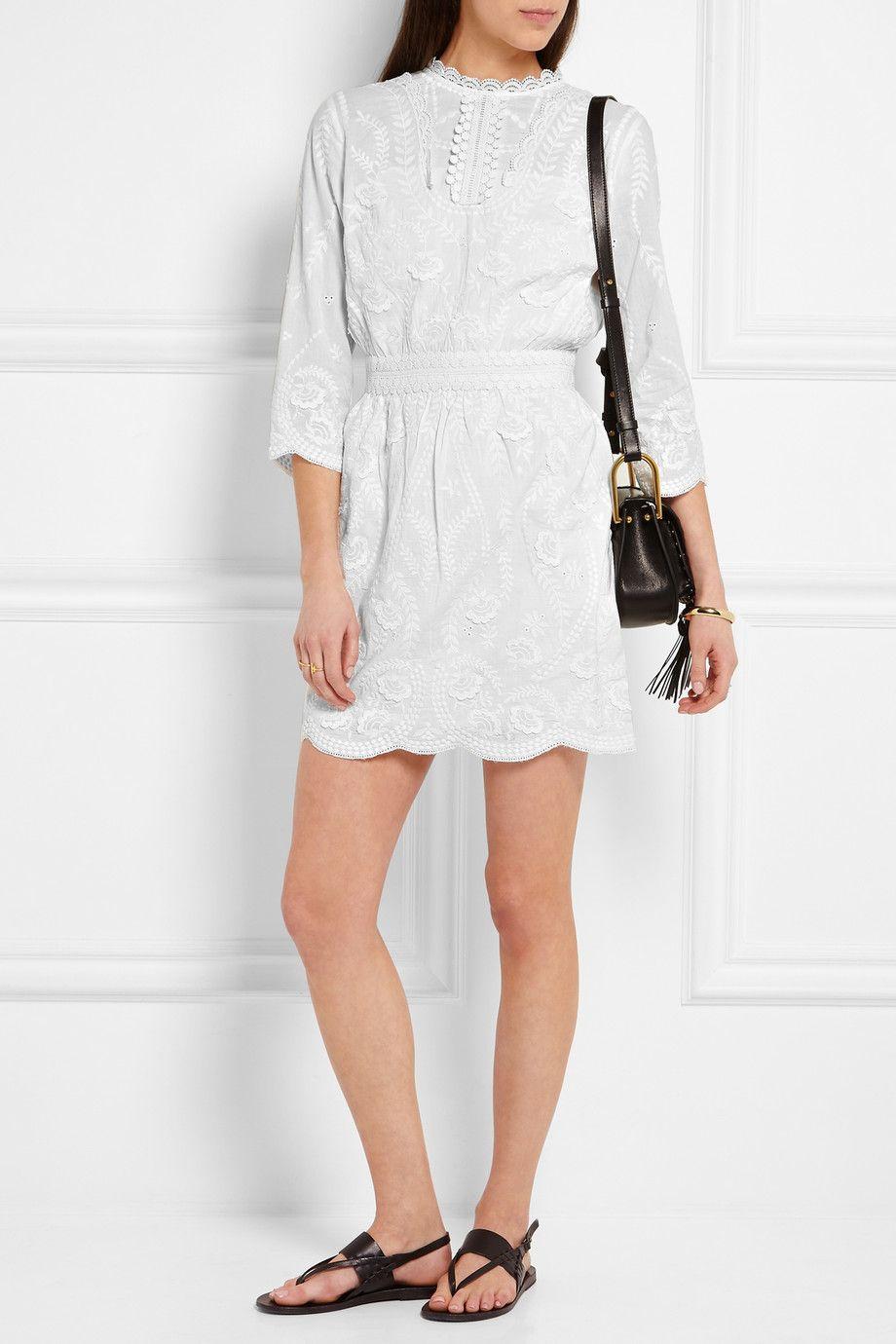 Blanc Casse Mini Robe En Coton Et Broderies Evangelista Vanessa Bruno Dresses Inspired Dress Mini Dress