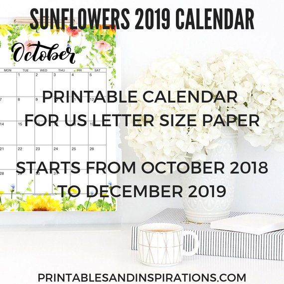 2019 CALENDAR with SUNFLOWERS! (Printable Monthly Planner