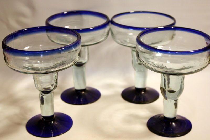 4 Mexican Hand Blown Cobalt Blue Rim Margarita Martini Cocktail Glass Flat Bowl Handmade Glass Cocktail Glass Margarita Glasses