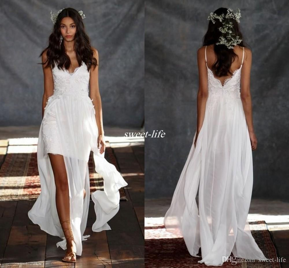 Cheap summer beach boho wedding dresses chiffon lace backless sheer