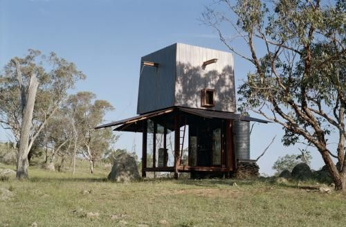 Permanent Camping | Casey Brown Architecture    The structure is a two storey copper clad tower with the sides opening up on the ground level to provide wide verandahs to the north, east and western elevations.