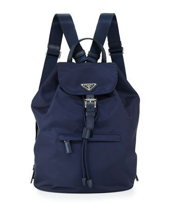 a533c9ac73 Large Nylon Flap-Top Backpack, Blue (Baltico) by Prada at Neiman Marcus.