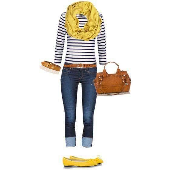 Photo of Skinny jeans, stripped top with yellow scarf and flats