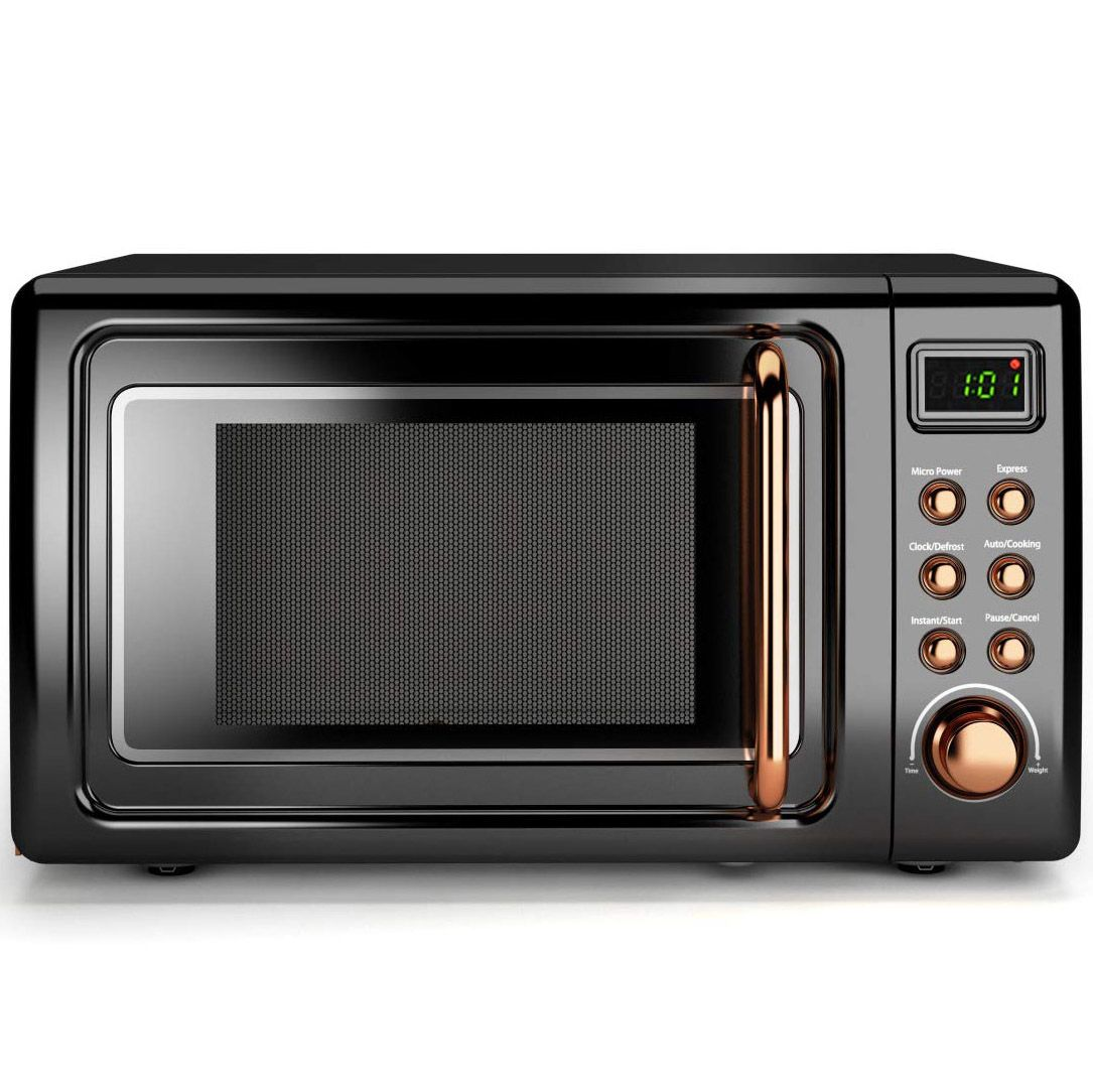 Costway 0.7Cu.ft Retro Countertop Microwave Oven 700W LED