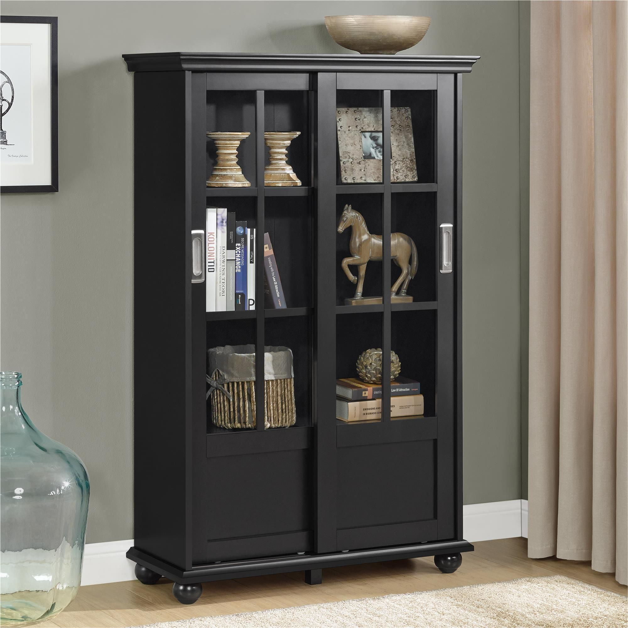 Ameriwood Home Aaron Lane Black Bookcase With Sliding Glass Doors