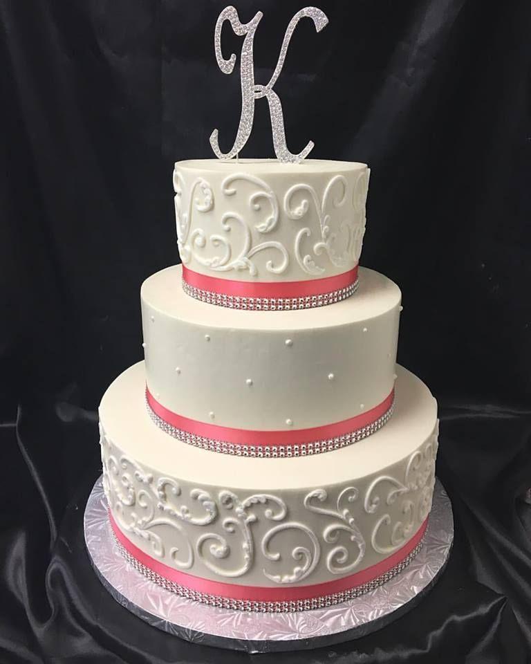 White Coral Bling Wedding Cake
