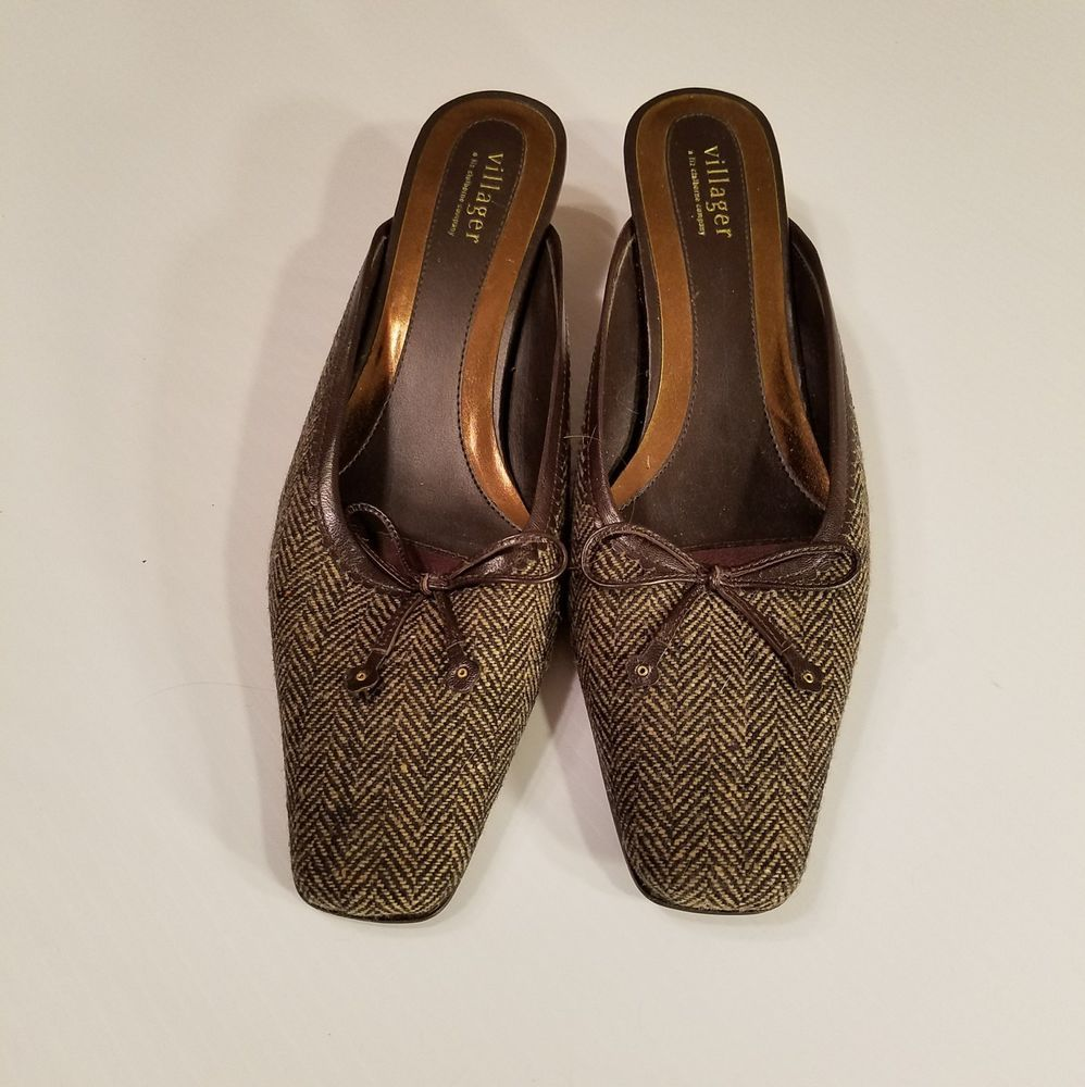 54c23dacd8a5aa Villager Liz Claiborne Sandra Mules Kitten Heels Brown Tweed Size 11M Shoes   Villager  Mules  WeartoWork
