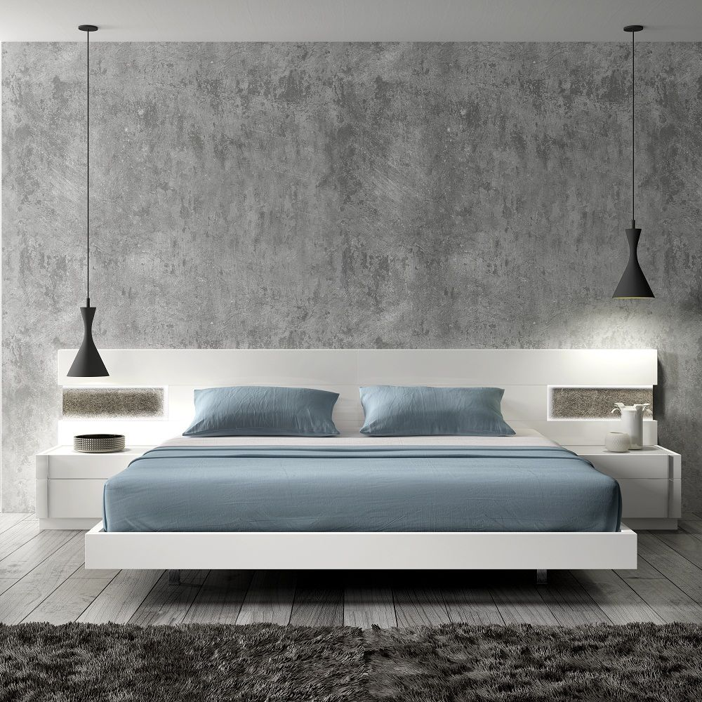 Amore White Lacquer Wood Contemporary Platform Bed by J&M | Mobilya ...