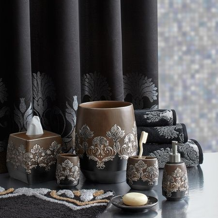 Add Elegance To Your Bathroom With The Castella Bathroom Collection  Featuring A Silver Scroll And Floral Design On A Black And Brown Ground.