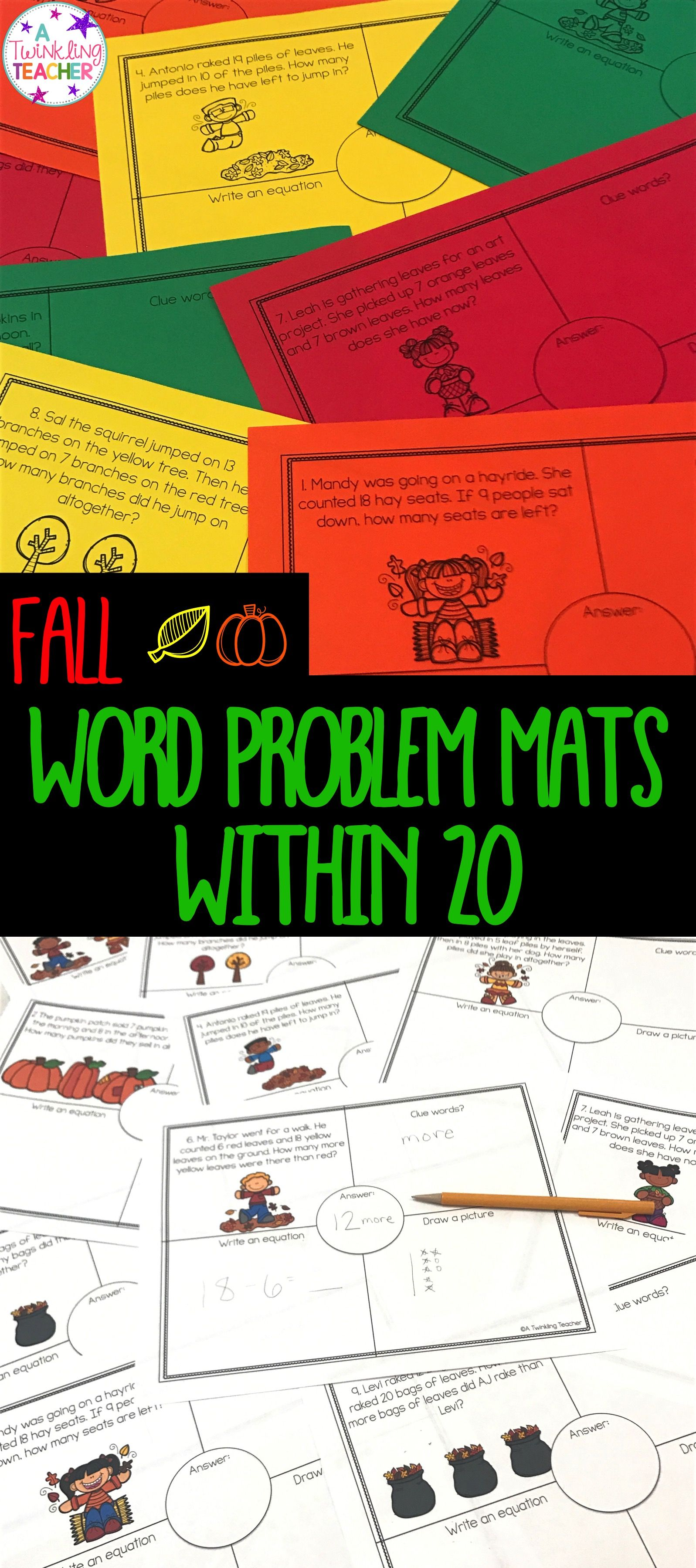 Easy Prep Fall Addition And Subtraction Word Problem Mats