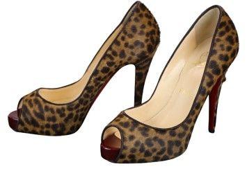 aaefda881287 GB1021528 Authentic Christian Louboutin Maryl Leopard-Print Calf Hair Peep-Toe  Pumps Size 6.5 Glamorous with a definite…