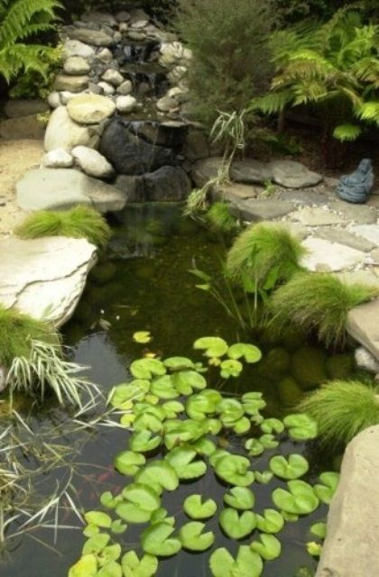 Awesome 40 Philosophic Zen Garden Designs : 40 Philosophic Zen Garden Designs With Natural Stone Ponds And Grass With Plant Decoration