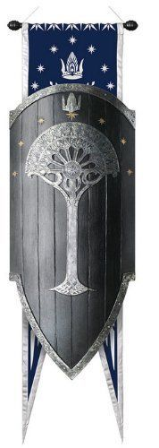 United-Cutlery-Shield-of-Gondor-with-Flag-Seven-Stars-One-White-Tree