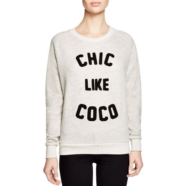 Eleven Paris Chic Like Coco Sweatshirt ($68) ❤ liked on Polyvore featuring tops, hoodies, sweatshirts, light grey chine, elevenparis, sweatshirt hoodies, sweat tops and sweat shirts