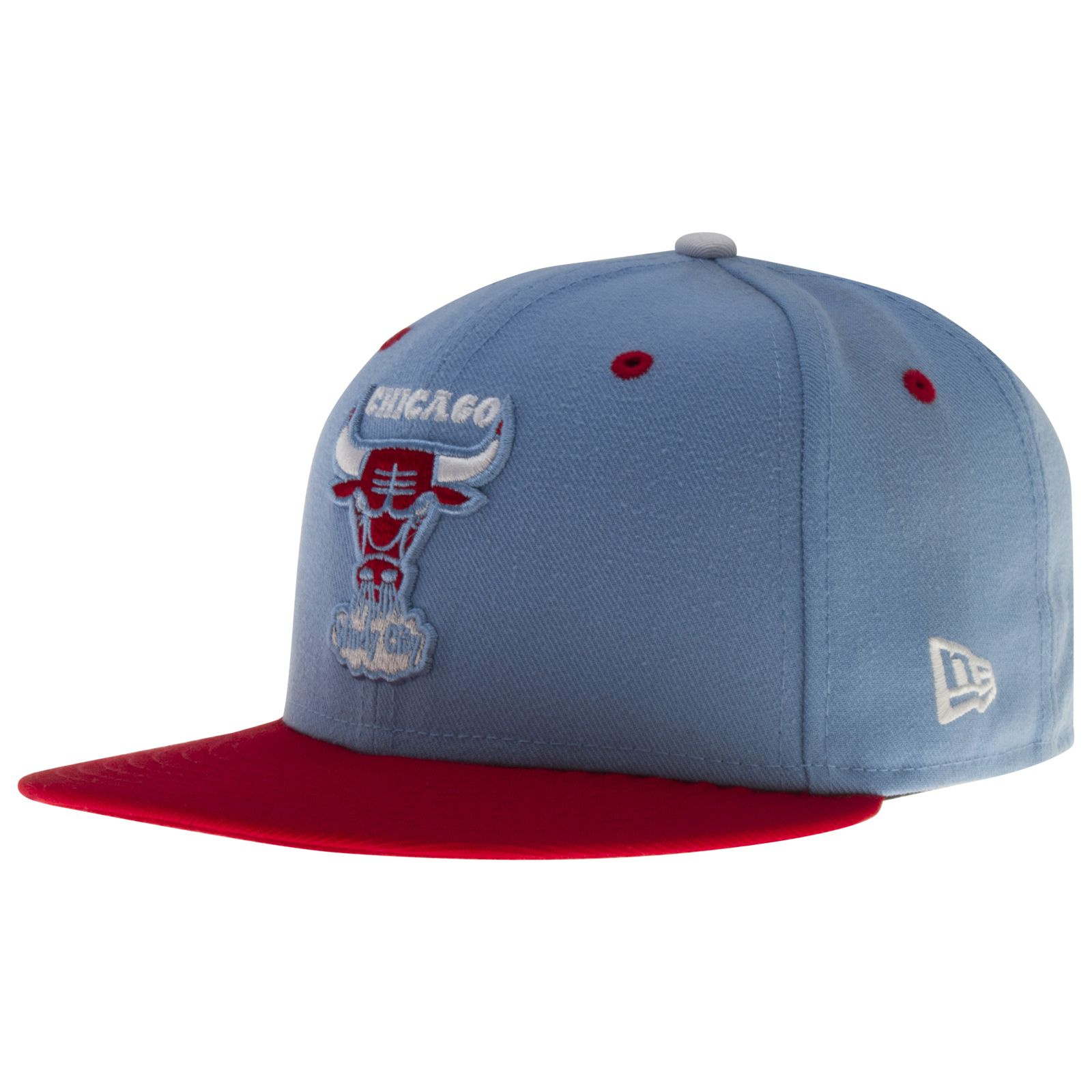 3ab60009659 Chicago Bulls Sky Blue and Red Windy City Bull Logo Chicago Flag Flat Bill  Fitted Hat by New Era  Chicago  ChicagoBulls  Bulls