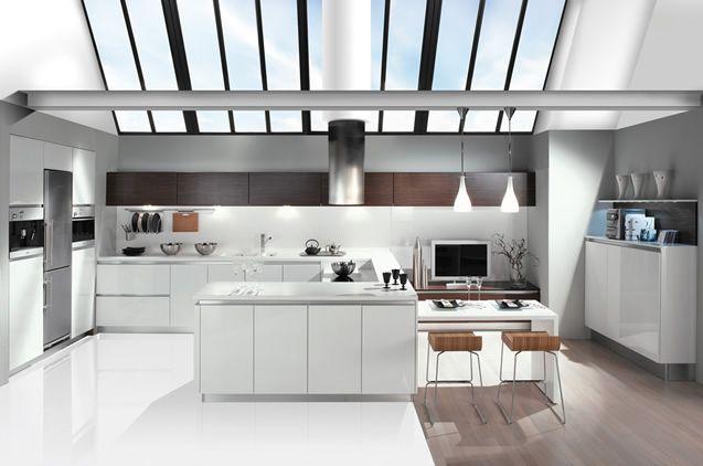 DJIN Laque Brillante Blanc et PolyMatt Noir Cuisine Pinterest