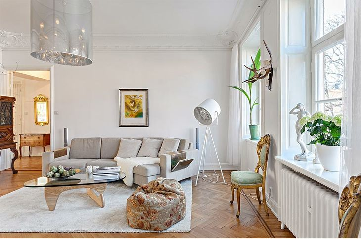 Eclectic Scandinavian Apartment With Touch Of Luxury Apartment Interior Apartment Interior Design Scandinavian Style Interior